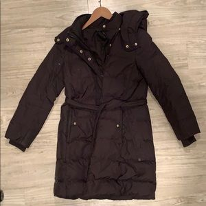 J Crew belted puffer, Black petite small